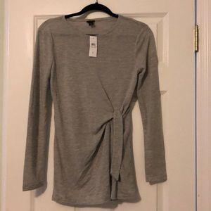 NWT Ann Taylor Long Sleeve Gray Top